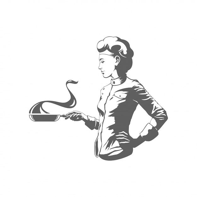 Donna del cuoco unico che cucina l'illustrazione di vettore della siluetta isolata su fondo bianco. Vettore Premium