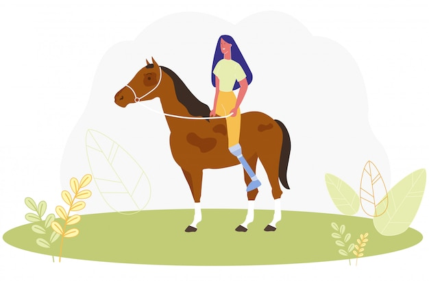 Donna del fumetto con cavallo da equitazione della gamba protesica Vettore Premium