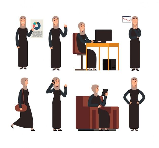 Donna di affari araba in vestiti sauditi islamici in diverse situazioni aziendali. Vettore Premium