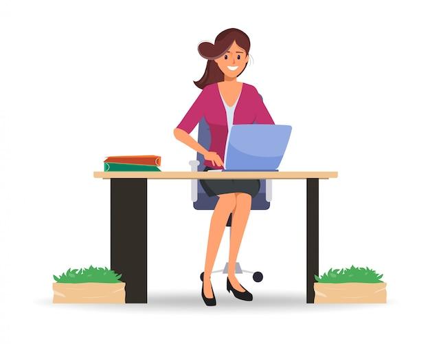 Donna di affari che lavora al computer portatile alla comunicazione online. Vettore Premium