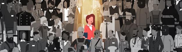 Donna di affari leader stand out from crowd individual, affare team concept del gruppo della gente del candidato di assunzione delle risorse umane del riflettore Vettore Premium