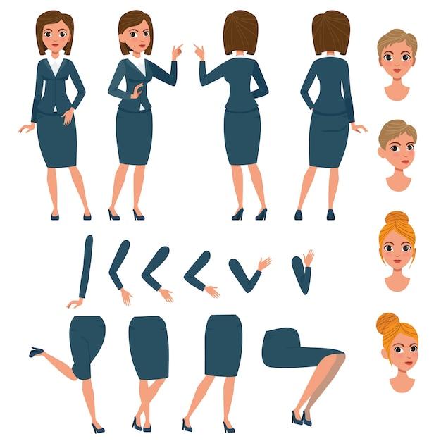 Donna di affari nella serie di caratteri del vestito convenzionale Vettore gratuito