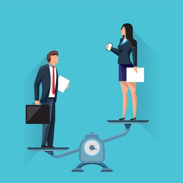 Donna di affari sulle scale con l'uomo d'affari Vettore Premium