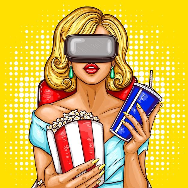 Donna di arte pop di arte che guarda il film con occhiali di realtà virtuale. Vettore gratuito