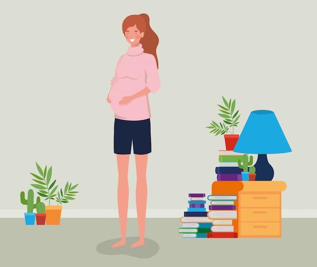 Donna di gravidanza nella scena del posto della casa Vettore gratuito