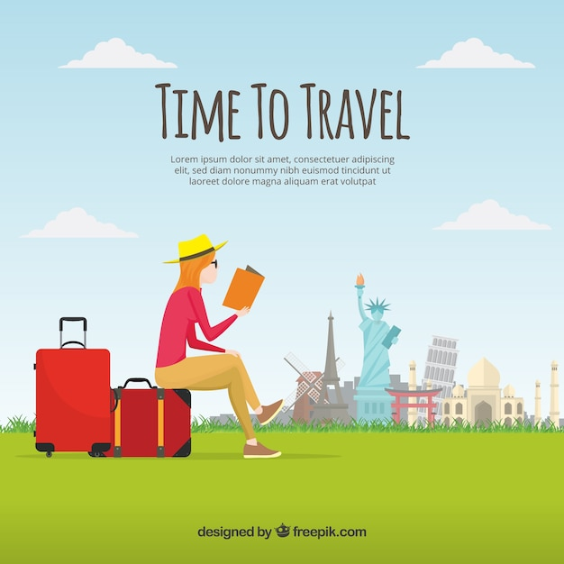 Donna di lettura e di viaggio sfondo Vettore gratuito