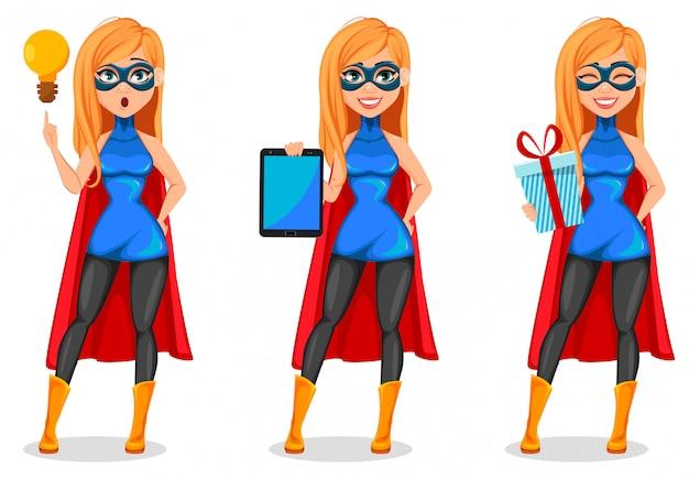 Donna di successo che indossa il costume da supereroe Vettore Premium