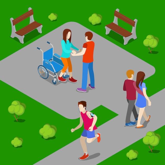 Donna disabile su sedia a rotelle. la donna d'aiuto di aiuto si alza dalla sedia a rotelle. persone isometriche. illustrazione vettoriale Vettore Premium