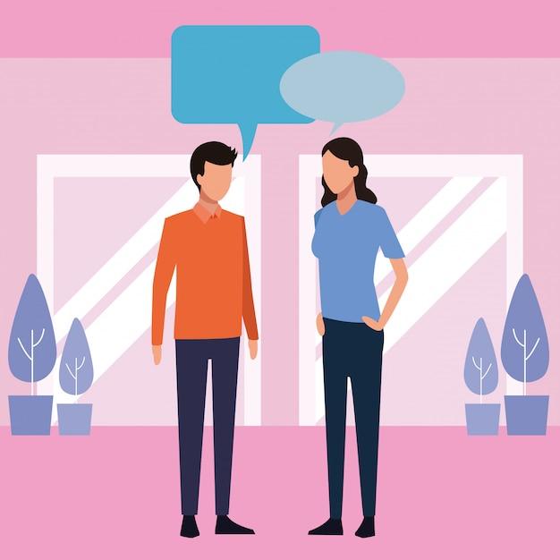Donna e uomo parlando Vettore Premium
