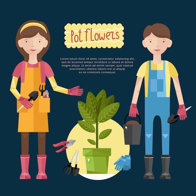 Donna e uomo prendersi cura delle loro piante Vettore Premium