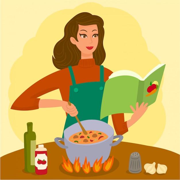 Donna, fabbricazione, zuppa Vettore Premium