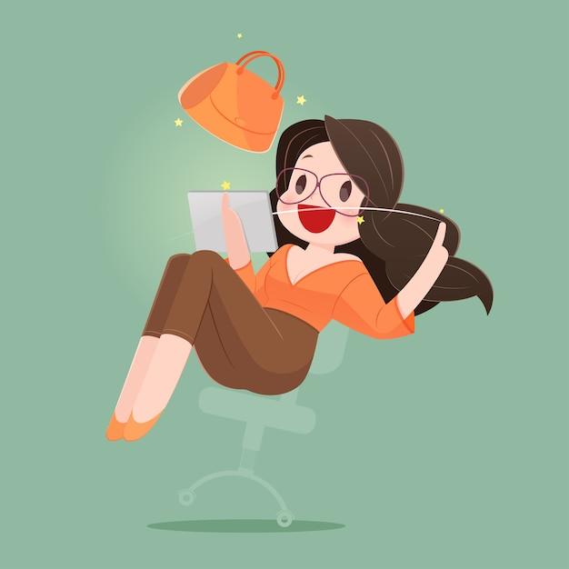 Donna felice con il sacchetto della spesa che gode nello shopping online. illustrazione del fumetto di concetto di affari Vettore Premium