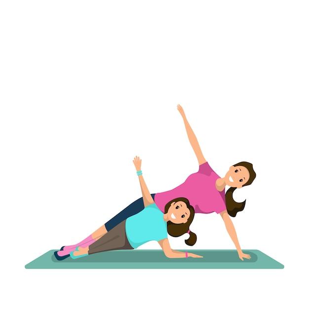 Donna felice e bambino facendo allenamento fitness Vettore Premium