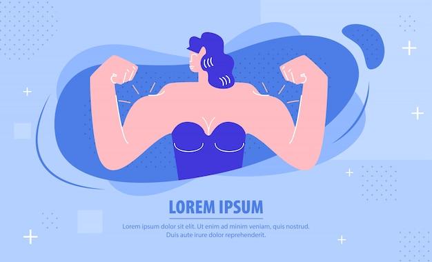 Donna forte che dimostra la bandiera di web dei muscoli Vettore Premium