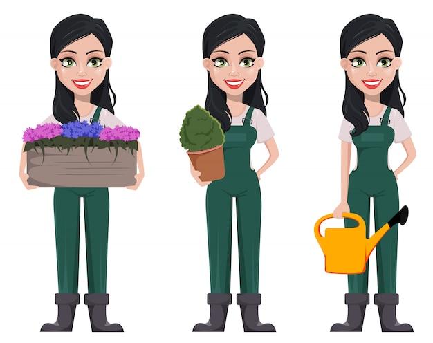 Donna giardiniere, personaggio dei cartoni animati in uniforme Vettore Premium