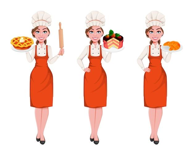 Donna giovane e bella chef. bella cuoca signora Vettore Premium