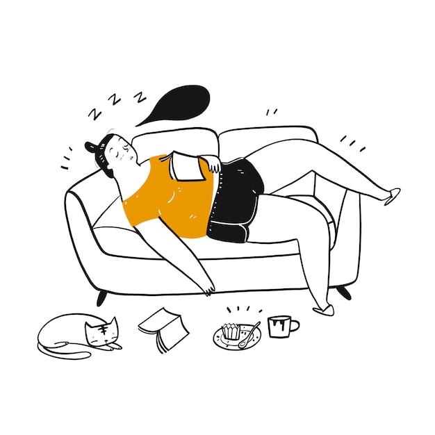 Donna grassa dormire sul divano. Vettore Premium