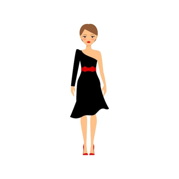 Donna in abito da sera nero retrò Vettore Premium