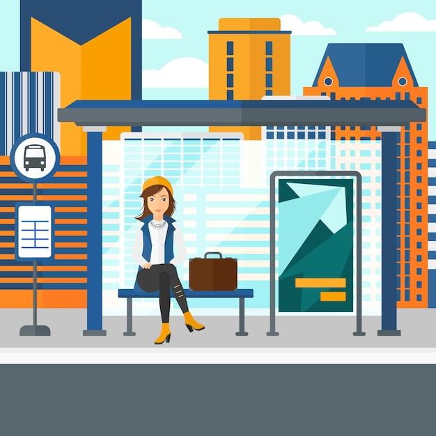 Donna in attesa di autobus. Vettore Premium