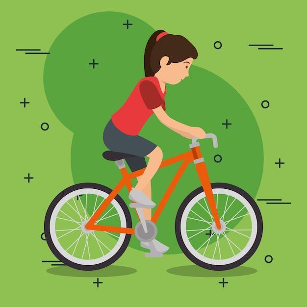 Donna in bicicletta con sport Vettore gratuito