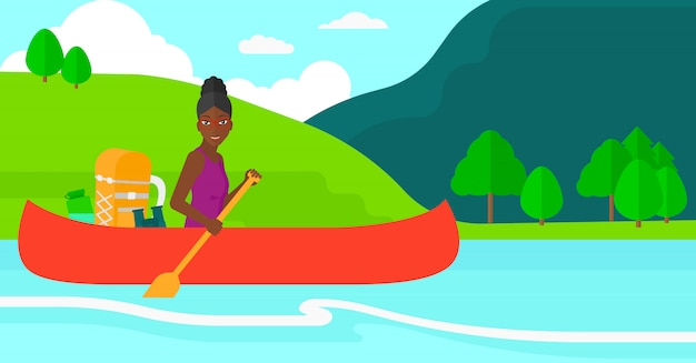 Donna in canoa sul fiume. Vettore Premium
