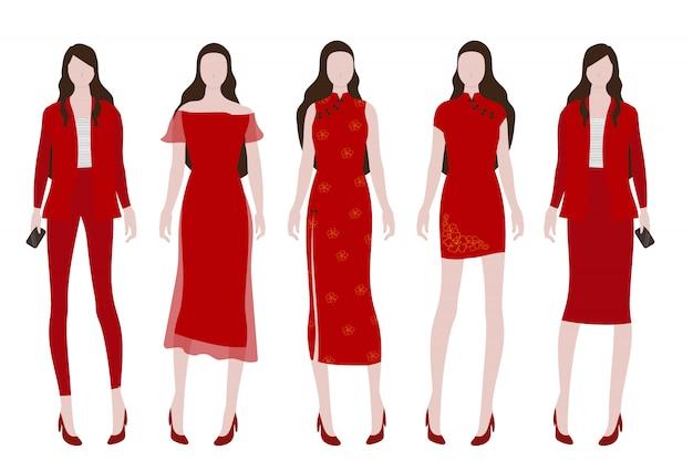 Donna in costume rosso per la collezione cinese del nuovo anno Vettore Premium