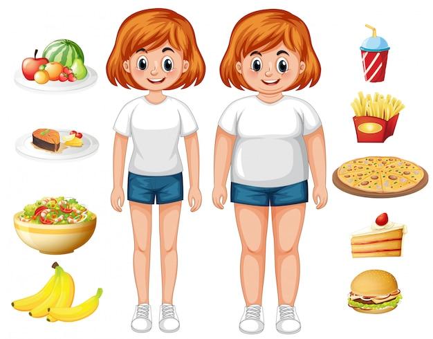 Donna in forma e sovrappeso con il cibo Vettore gratuito