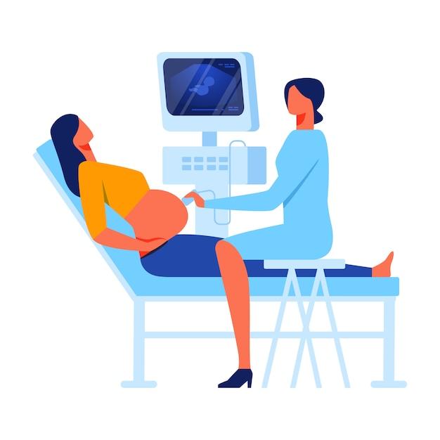 Donna in gabinetto di medicina diagnostica e screening Vettore Premium