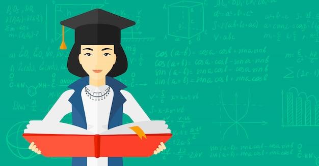 Donna in libro della holding della protezione di graduazione Vettore Premium