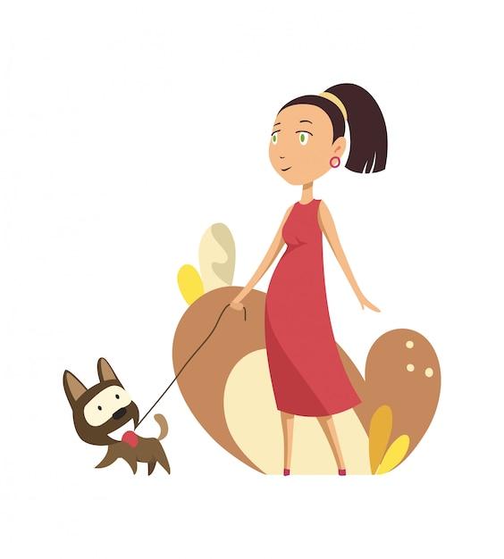Donna incinta che cammina con il cane Vettore Premium