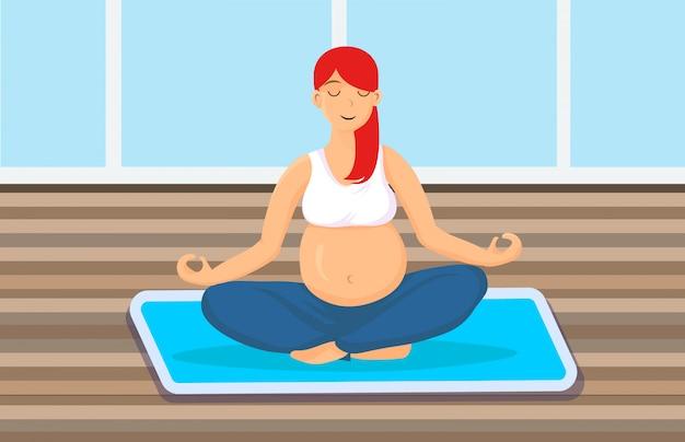 Donna incinta che si siede nella posa del loto Vettore Premium