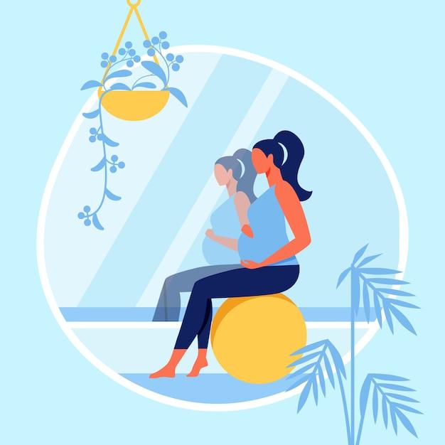 Donna incinta che si siede sulla sfera di forma fisica vicino allo specchio Vettore Premium