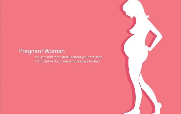 Donna incinta con sfondo rosa vettoriale Vettore Premium
