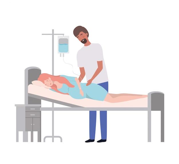 Donna incinta ed uomo isolati Vettore Premium