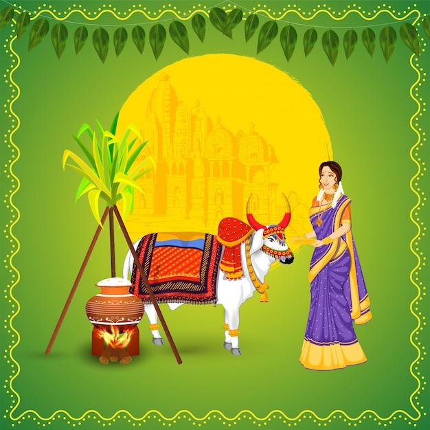 Donna indiana con l'animale di bue, la canna da zucchero, il riso che cucina in vaso del fango e tempio su verde per la celebrazione felice di pongal. Vettore Premium
