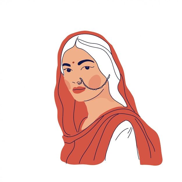 Donna indiana in abiti tradizionali Vettore Premium
