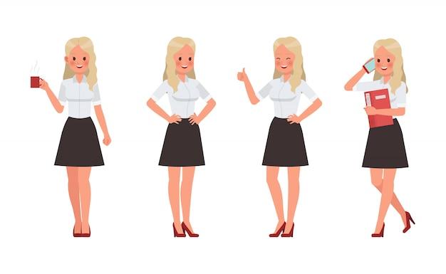 Donna indossa camicia bianca set di caratteri Vettore Premium