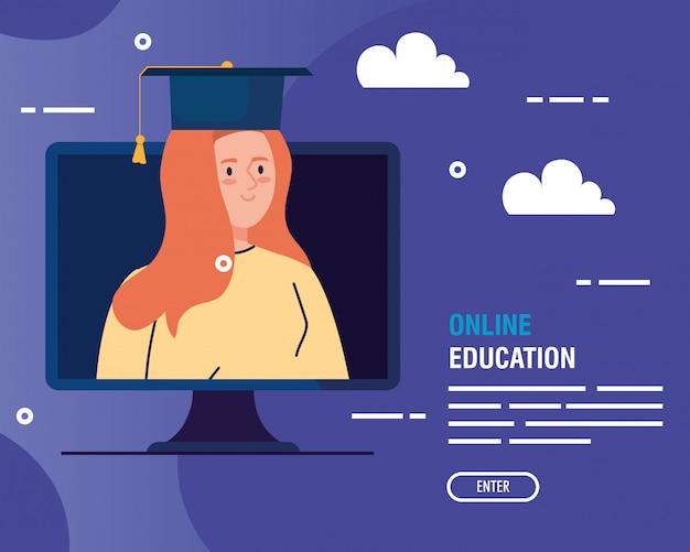 Donna laureata nell'istruzione online dal computer Vettore gratuito