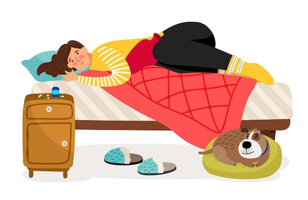 Donna malata a letto. dolore mestruale, concetto di vettore di salute della donna Vettore Premium