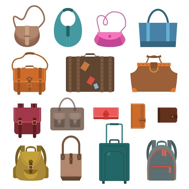 Donna moda e bagaglio sacchetti icone colorate impostare illustrazione vettoriale isolato. Vettore gratuito