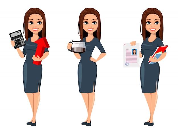 Donna moderna giovane business in abito grigio Vettore Premium