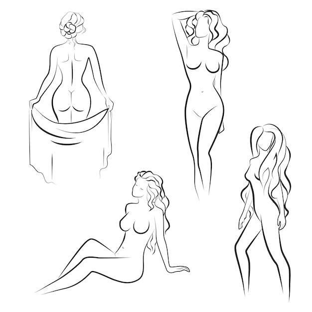 Donna nuda in posa Vettore Premium