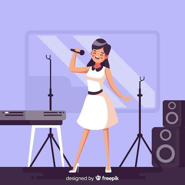 Donna piatta praticando con un microfono Vettore gratuito