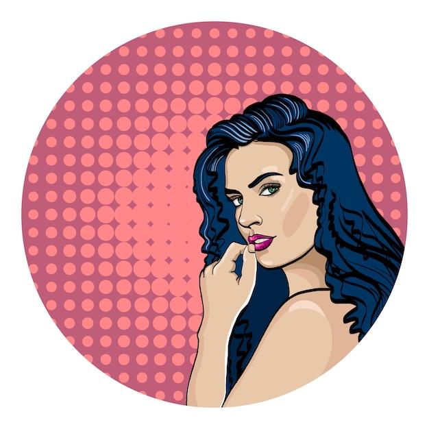 Donna pop art Vettore Premium