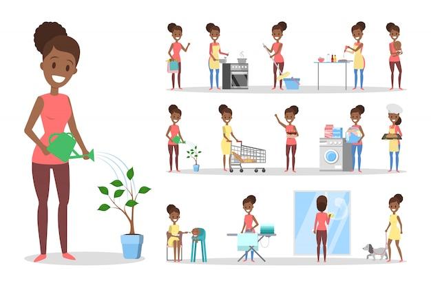 Donna pulita a casa e facendo un set di lavori domestici. casalinga che fa la routine domestica quotidiana. illustrazione Vettore Premium