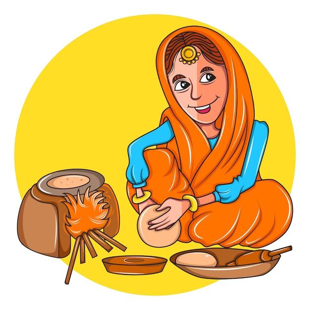 Donna punjabi che fa il chapatis sulla stufa di terra. Vettore Premium