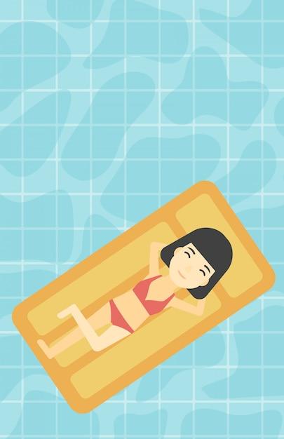 Donna rilassante in piscina. Vettore Premium