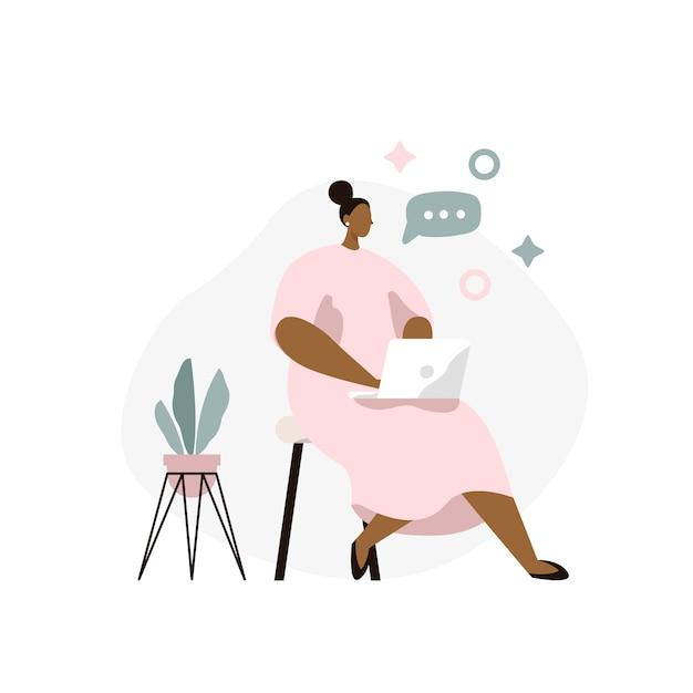 Donna seduta con il portatile. libero professionista donna a casa. lavoro online, conversazione online. Vettore Premium