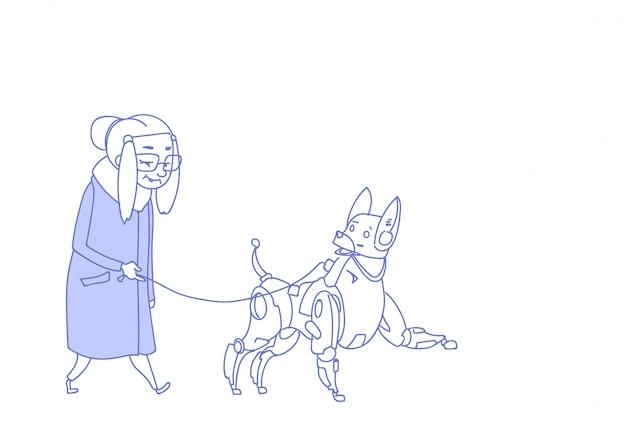 Donna senior che cammina con cura moderna degli animali domestici di intelligenza artificiale del cane robot Vettore Premium