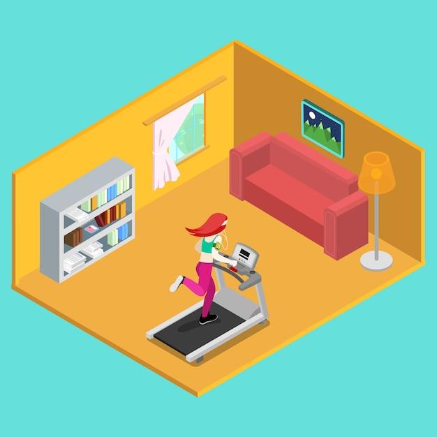 Donna sportiva che funziona sulla pedana mobile a casa. persone isometriche. illustrazione vettoriale Vettore Premium